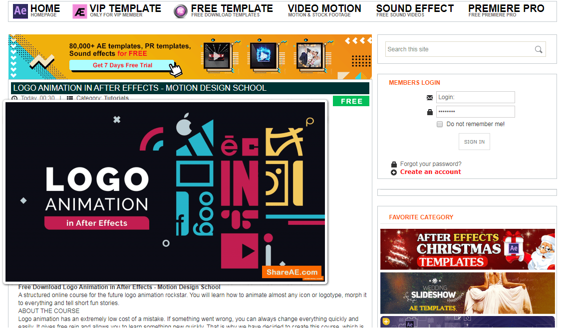 situs download template video after effects gratis