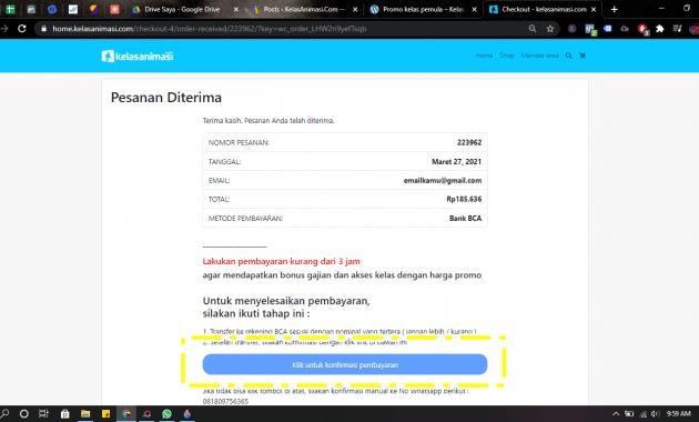 """konfirmasi cara """"mendaftar di kelasanimasi.com"""""""